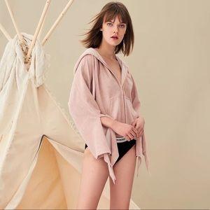 Dalia Luxe Cardi Zip Up Hoodie, Detailed Sleeves